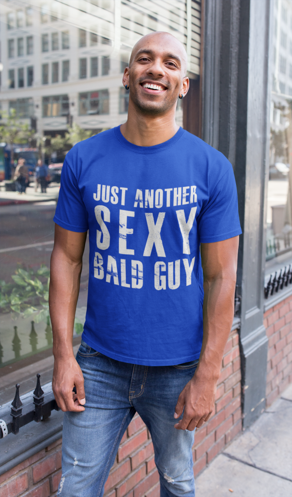 Blue-tshirt-bald-man