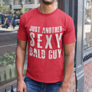 Red-tshirt-bald-man